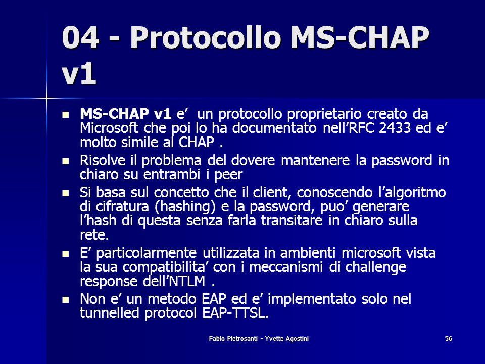 Fabio Pietrosanti - Yvette Agostini56 04 - Protocollo MS-CHAP v1 MS-CHAP v1 e un protocollo proprietario creato da Microsoft che poi lo ha documentato
