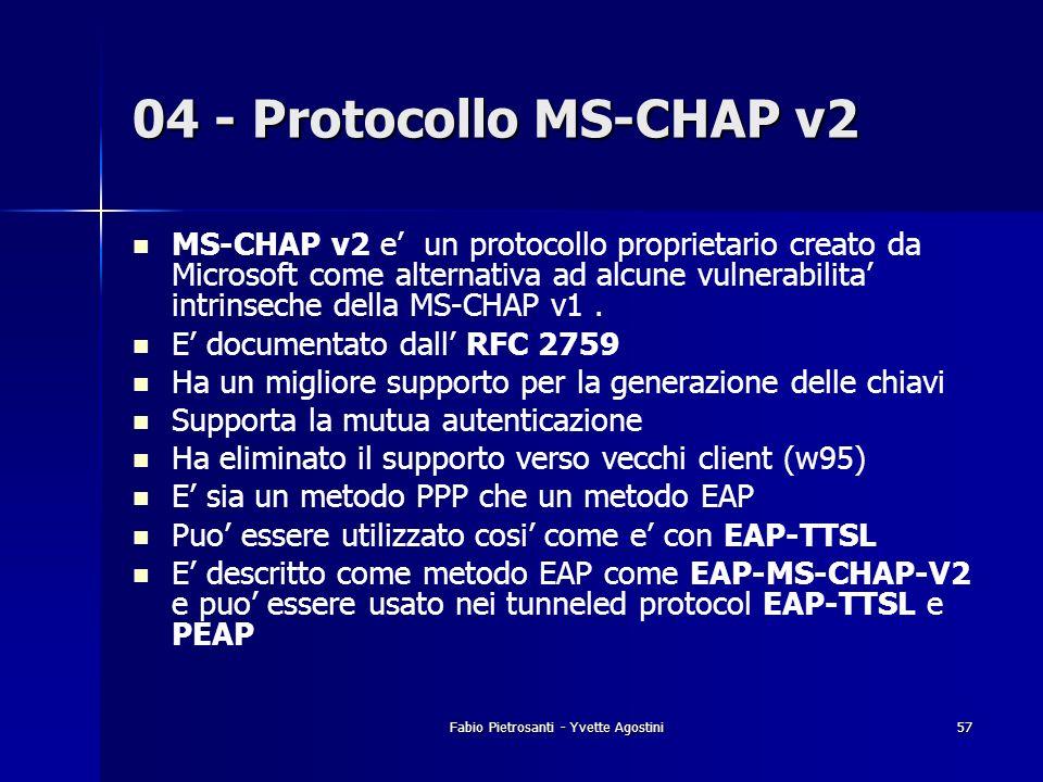 Fabio Pietrosanti - Yvette Agostini57 04 - Protocollo MS-CHAP v2 MS-CHAP v2 e un protocollo proprietario creato da Microsoft come alternativa ad alcun