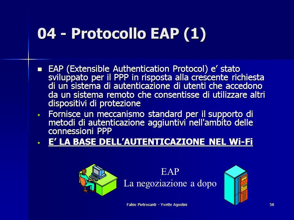 Fabio Pietrosanti - Yvette Agostini58 04 - Protocollo EAP (1) EAP (Extensible Authentication Protocol) e stato sviluppato per il PPP in risposta alla