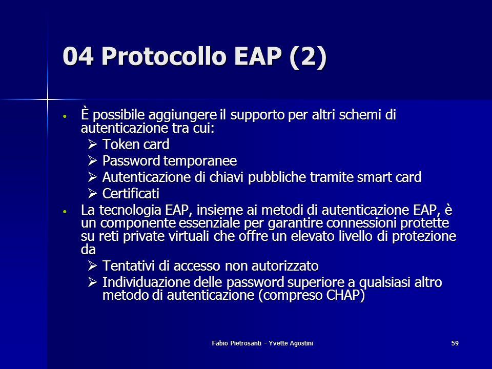 Fabio Pietrosanti - Yvette Agostini59 04 Protocollo EAP (2) È possibile aggiungere il supporto per altri schemi di autenticazione tra cui: È possibile