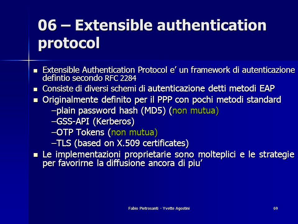 Fabio Pietrosanti - Yvette Agostini69 Extensible Authentication Protocol e un framework di autenticazione defintio secondo RFC 2284 Extensible Authent
