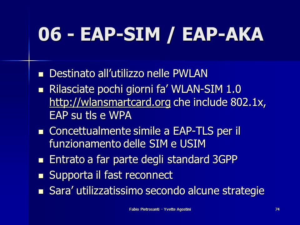 Fabio Pietrosanti - Yvette Agostini74 06 - EAP-SIM / EAP-AKA Destinato allutilizzo nelle PWLAN Destinato allutilizzo nelle PWLAN Rilasciate pochi gior