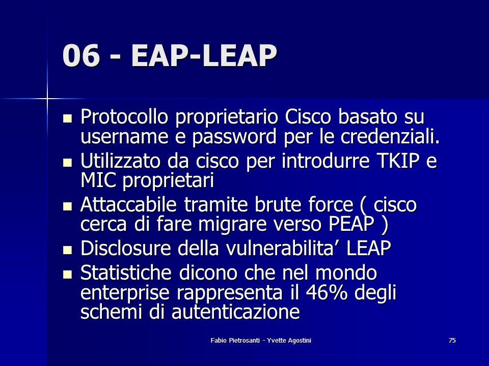 Fabio Pietrosanti - Yvette Agostini75 06 - EAP-LEAP Protocollo proprietario Cisco basato su username e password per le credenziali. Protocollo proprie