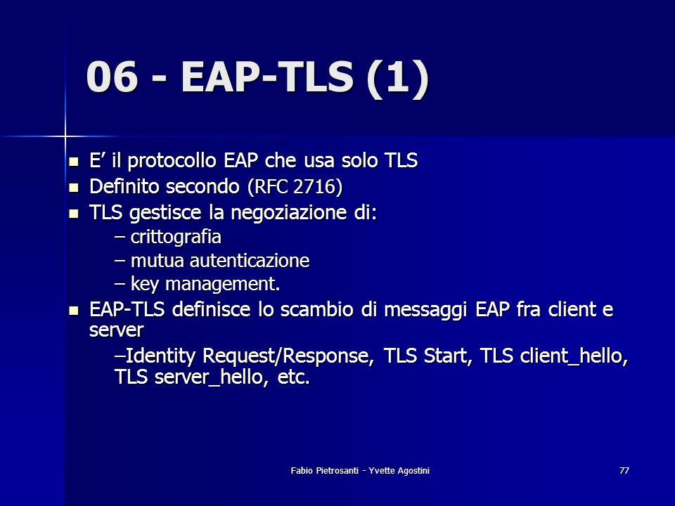 Fabio Pietrosanti - Yvette Agostini77 06 - EAP-TLS (1) E il protocollo EAP che usa solo TLS E il protocollo EAP che usa solo TLS Definito secondo (RFC
