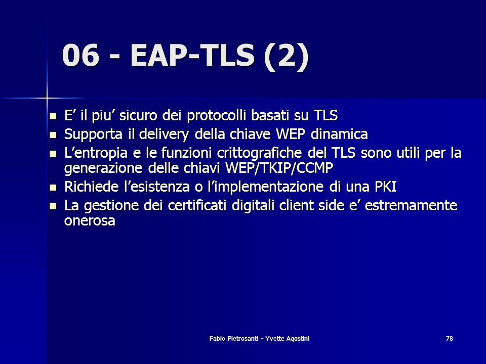Fabio Pietrosanti - Yvette Agostini78 06 - EAP-TLS (2) E il piu sicuro dei protocolli basati su TLS E il piu sicuro dei protocolli basati su TLS Suppo