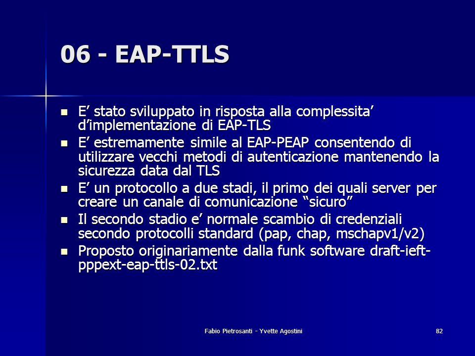 Fabio Pietrosanti - Yvette Agostini82 06 - EAP-TTLS E stato sviluppato in risposta alla complessita dimplementazione di EAP-TLS E stato sviluppato in