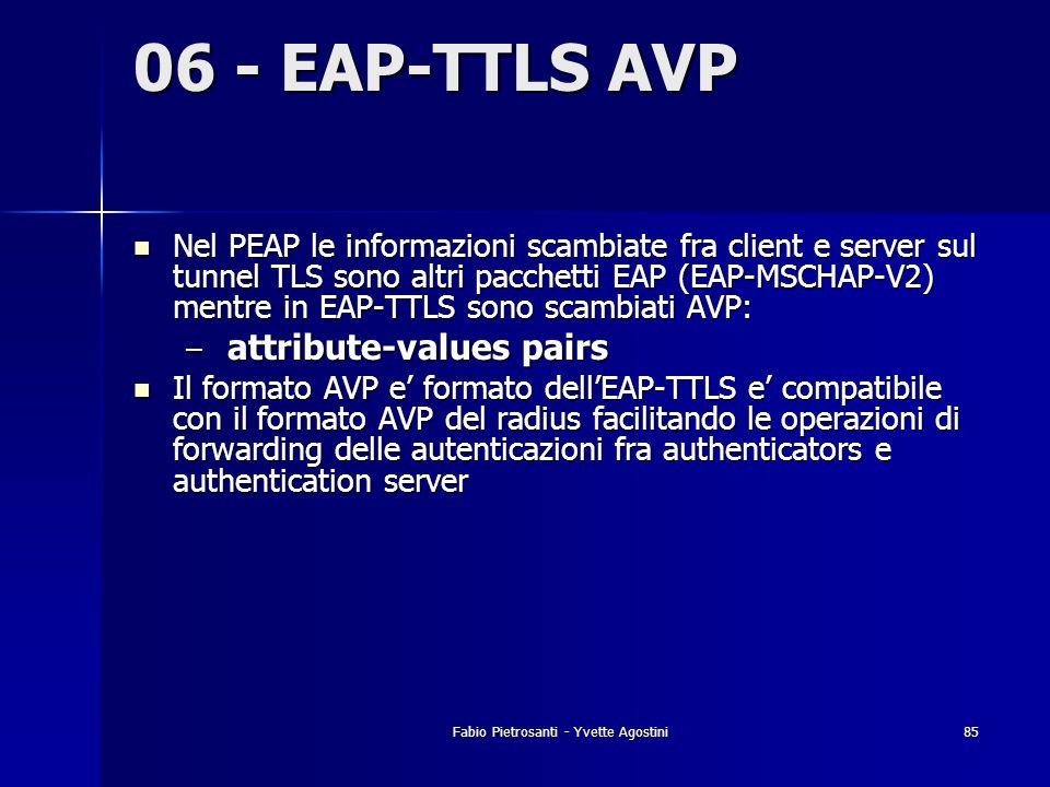 Fabio Pietrosanti - Yvette Agostini85 06 - EAP-TTLS AVP Nel PEAP le informazioni scambiate fra client e server sul tunnel TLS sono altri pacchetti EAP