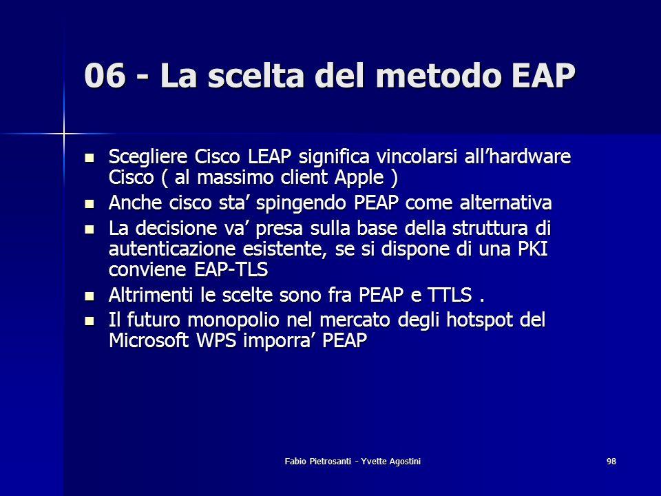 Fabio Pietrosanti - Yvette Agostini98 Scegliere Cisco LEAP significa vincolarsi allhardware Cisco ( al massimo client Apple ) Scegliere Cisco LEAP sig