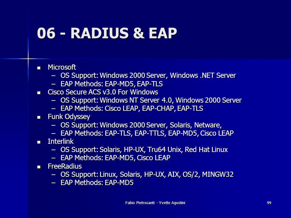 Fabio Pietrosanti - Yvette Agostini99 06 - RADIUS & EAP Microsoft Microsoft –OS Support: Windows 2000 Server, Windows.NET Server –EAP Methods: EAP-MD5