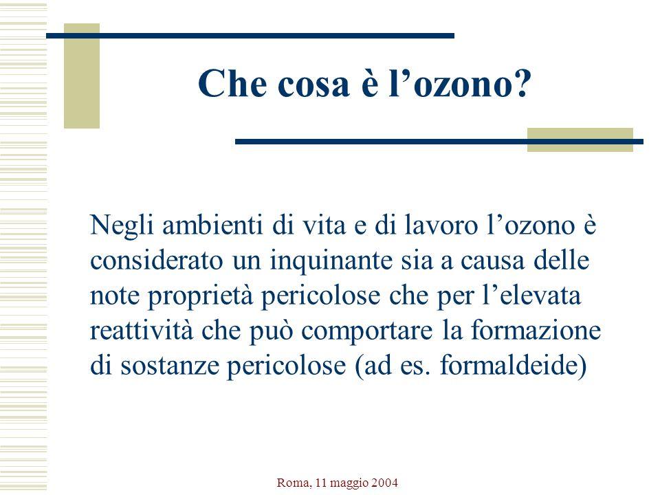 Roma, 11 maggio 2004 Che cosa è lozono? Negli ambienti di vita e di lavoro lozono è considerato un inquinante sia a causa delle note proprietà pericol