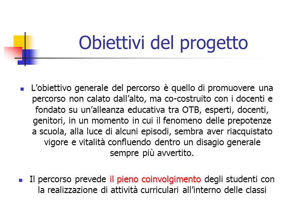 Obiettivi del progetto Lobiettivo generale del percorso è quello di promuovere una percorso non calato dallalto, ma co-costruito con i docenti e fonda