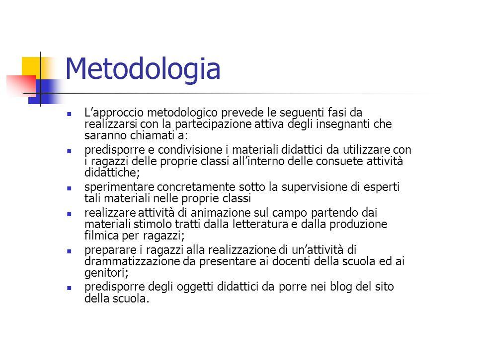 Metodologia Lapproccio metodologico prevede le seguenti fasi da realizzarsi con la partecipazione attiva degli insegnanti che saranno chiamati a: pred