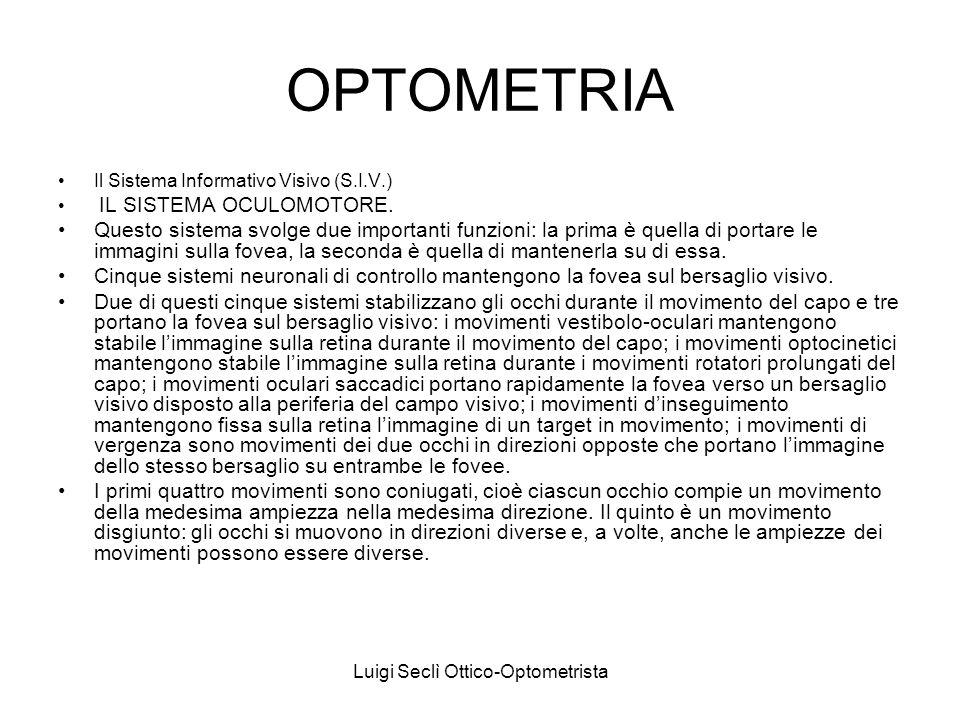 Luigi Seclì Ottico-Optometrista OPTOMETRIA Il Sistema Informativo Visivo (S.I.V.) IL SISTEMA OCULOMOTORE. Questo sistema svolge due importanti funzion