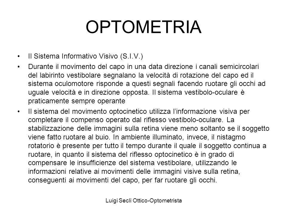 Luigi Seclì Ottico-Optometrista OPTOMETRIA Il Sistema Informativo Visivo (S.I.V.) Il sistema del movimento lento di inseguimento provvede a mantenere sulla fovea limmagine dei target visivi in movimento.