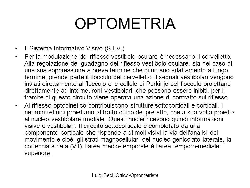 Luigi Seclì Ottico-Optometrista OPTOMETRIA Il Sistema Informativo Visivo (S.I.V.) Interneuroni della formazione reticolare del tronco dellencefalo forniscono ai motoneuroni i segnali relativi alla velocità ed alla posizione per lesecuzione del movimento saccadico e di quello lento dinseguimento.