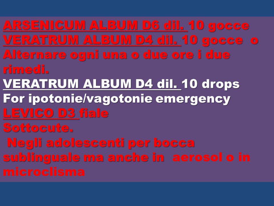 ARSENICUM ALBUM D6 dil. 10 gocce VERATRUM ALBUM D4 dil. 10 gocce o Alternare ogni una o due ore i due rimedi. VERATRUM ALBUM D4 dil. 10 drops For ipot