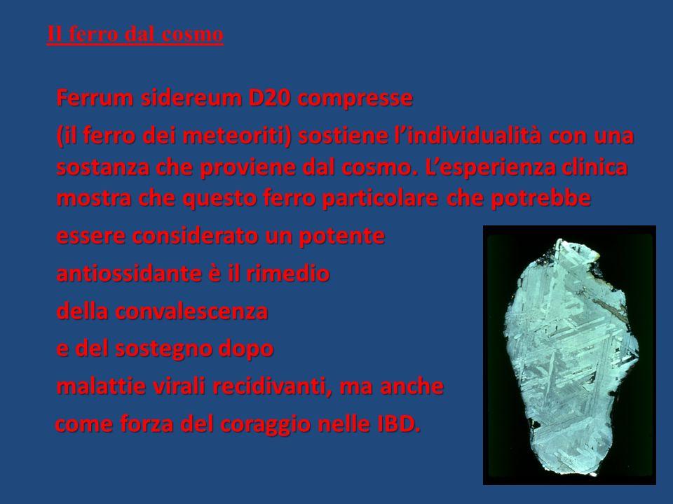 Il ferro dal cosmo Ferrum sidereum D20 compresse (il ferro dei meteoriti) sostiene lindividualità con una sostanza che proviene dal cosmo. Lesperienza