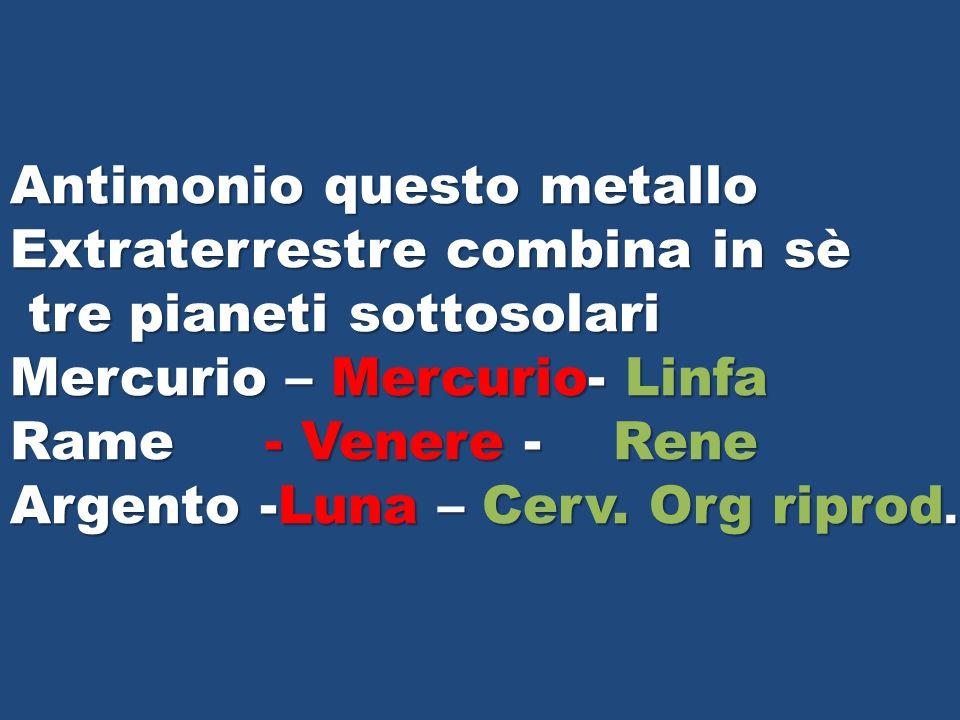 Antimonio questo metallo Extraterrestre combina in sè tre pianeti sottosolari tre pianeti sottosolari Mercurio – Mercurio- Linfa Rame - Venere - Rene