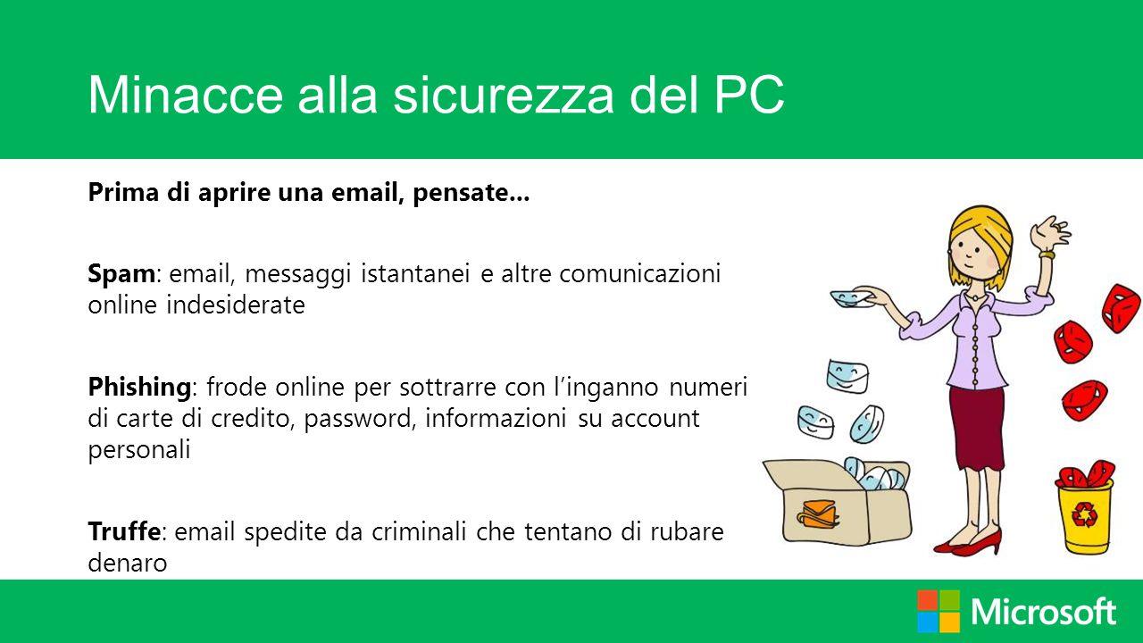 Prima di aprire una email, pensate... Spam: email, messaggi istantanei e altre comunicazioni online indesiderate Phishing: frode online per sottrarre