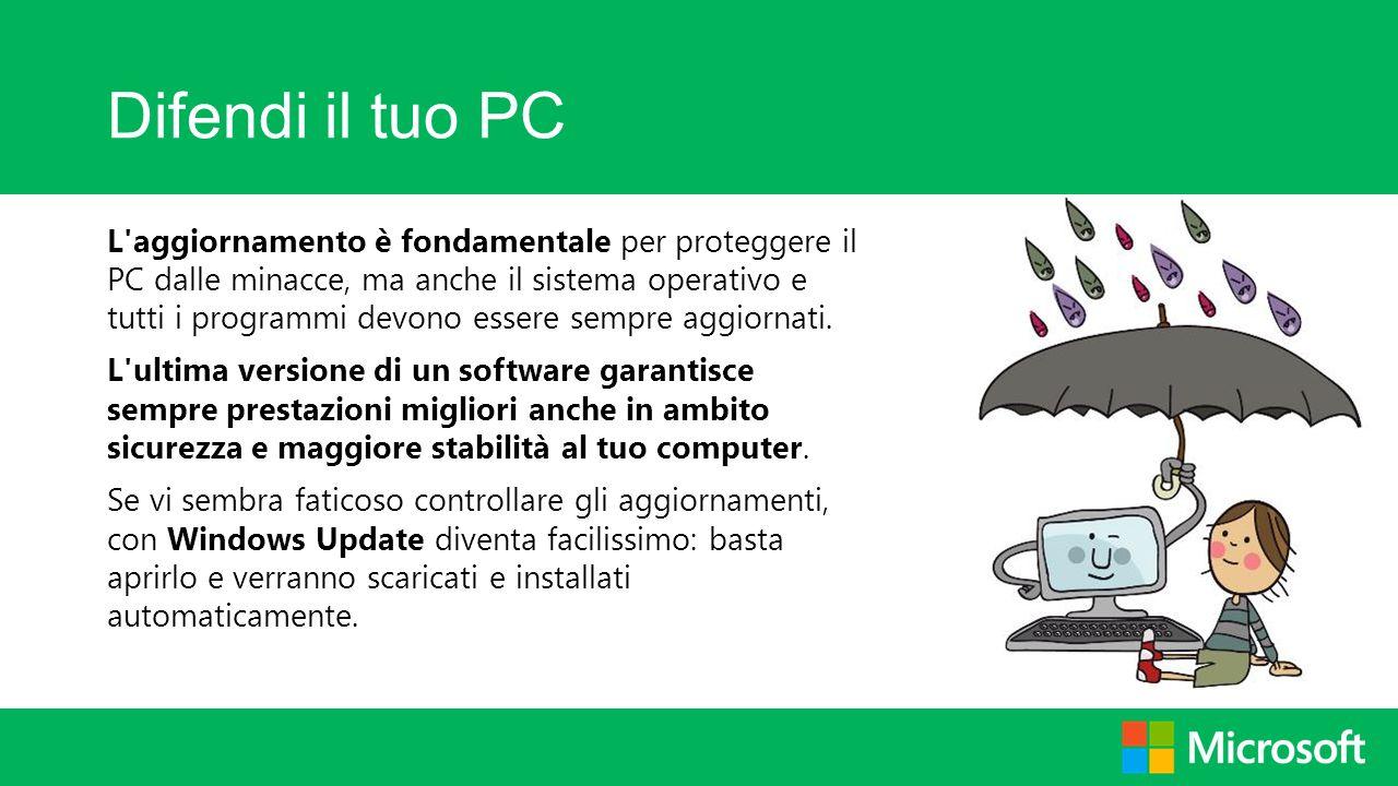 Difendi il tuo PC L'aggiornamento è fondamentale per proteggere il PC dalle minacce, ma anche il sistema operativo e tutti i programmi devono essere s