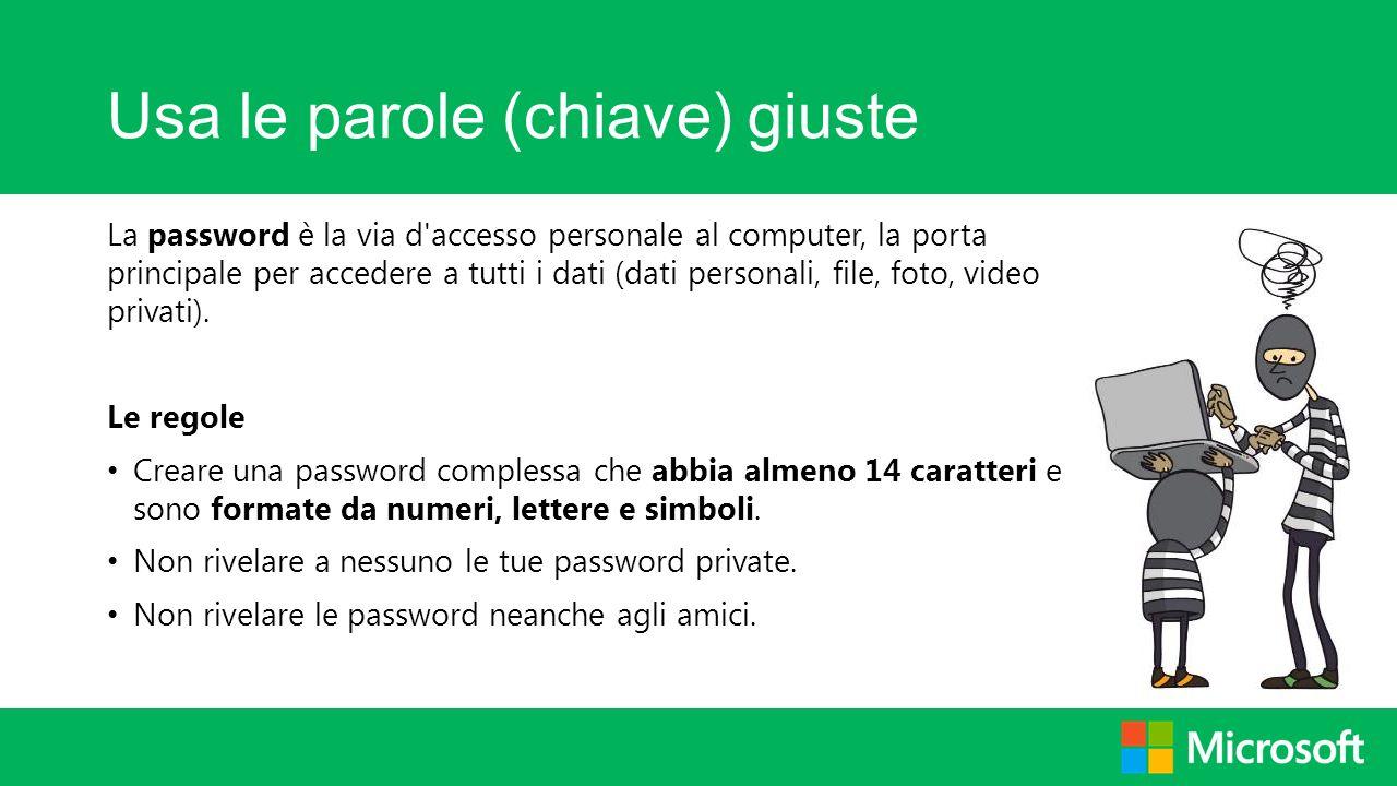 Usa le parole (chiave) giuste La password è la via d'accesso personale al computer, la porta principale per accedere a tutti i dati (dati personali, f