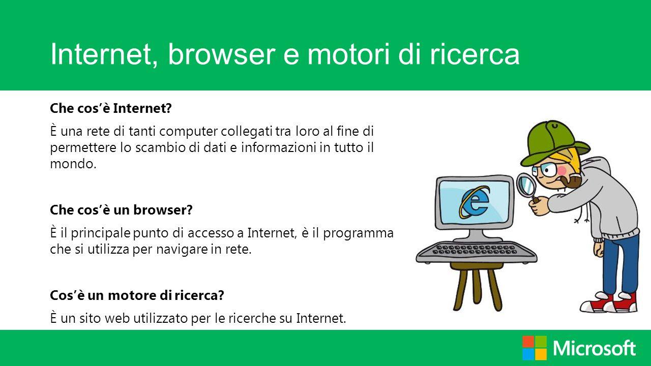 Internet, browser e motori di ricerca Che cosè Internet? È una rete di tanti computer collegati tra loro al fine di permettere lo scambio di dati e in