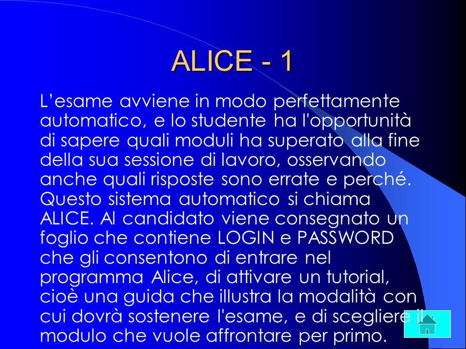 ALICE - 1 Lesame avviene in modo perfettamente automatico, e lo studente ha l'opportunità di sapere quali moduli ha superato alla fine della sua sessi