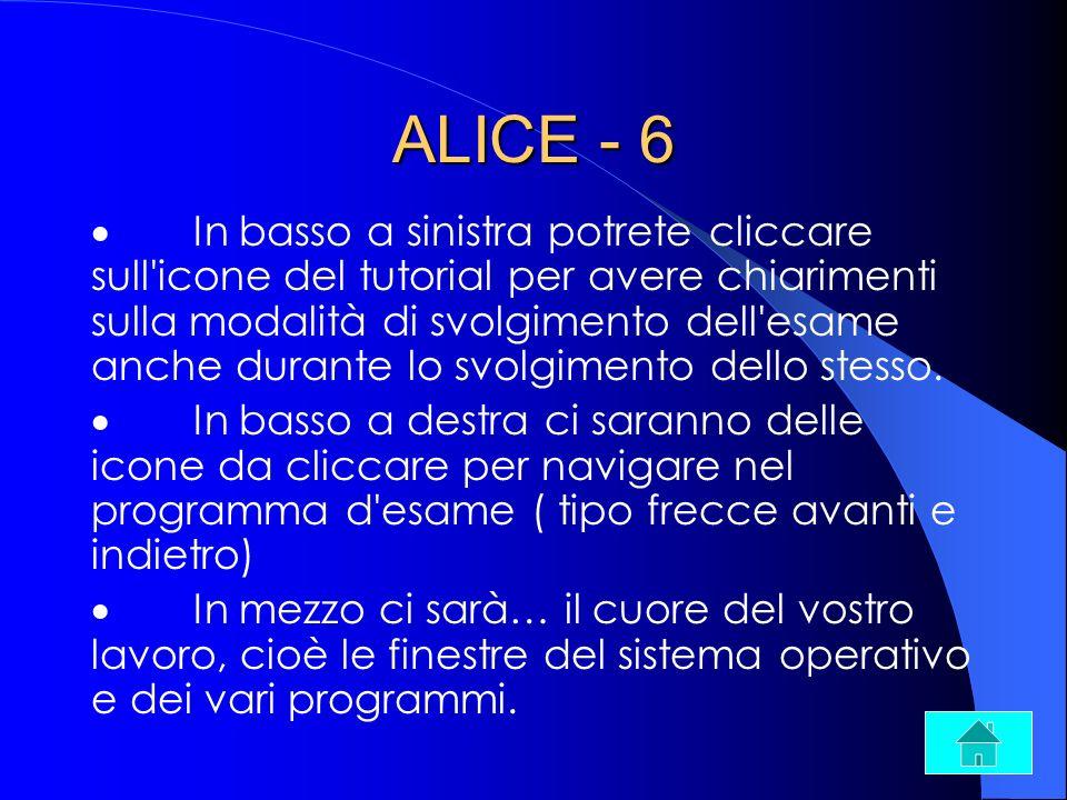 ALICE - 6 In basso a sinistra potrete cliccare sull'icone del tutorial per avere chiarimenti sulla modalità di svolgimento dell'esame anche durante lo