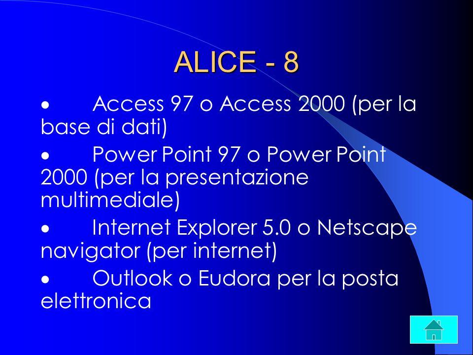 ALICE - 8 Access 97 o Access 2000 (per la base di dati) Power Point 97 o Power Point 2000 (per la presentazione multimediale) Internet Explorer 5.0 o