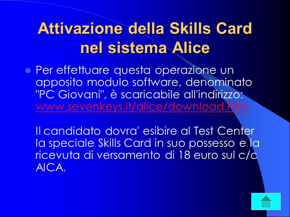 Attivazione della Skills Card nel sistema Alice Per effettuare questa operazione un apposito modulo software, denominato