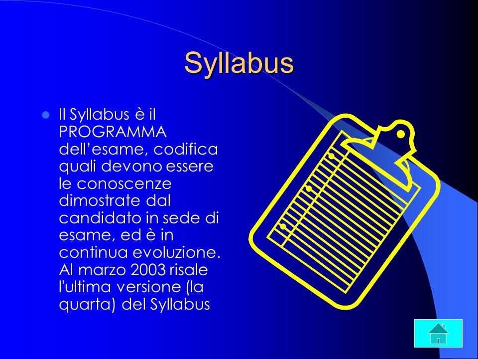 Syllabus Il Syllabus è il PROGRAMMA dellesame, codifica quali devono essere le conoscenze dimostrate dal candidato in sede di esame, ed è in continua