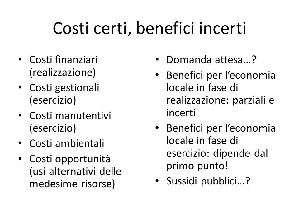 Costi certi, benefici incerti Costi finanziari (realizzazione) Costi gestionali (esercizio) Costi manutentivi (esercizio) Costi ambientali Costi oppor