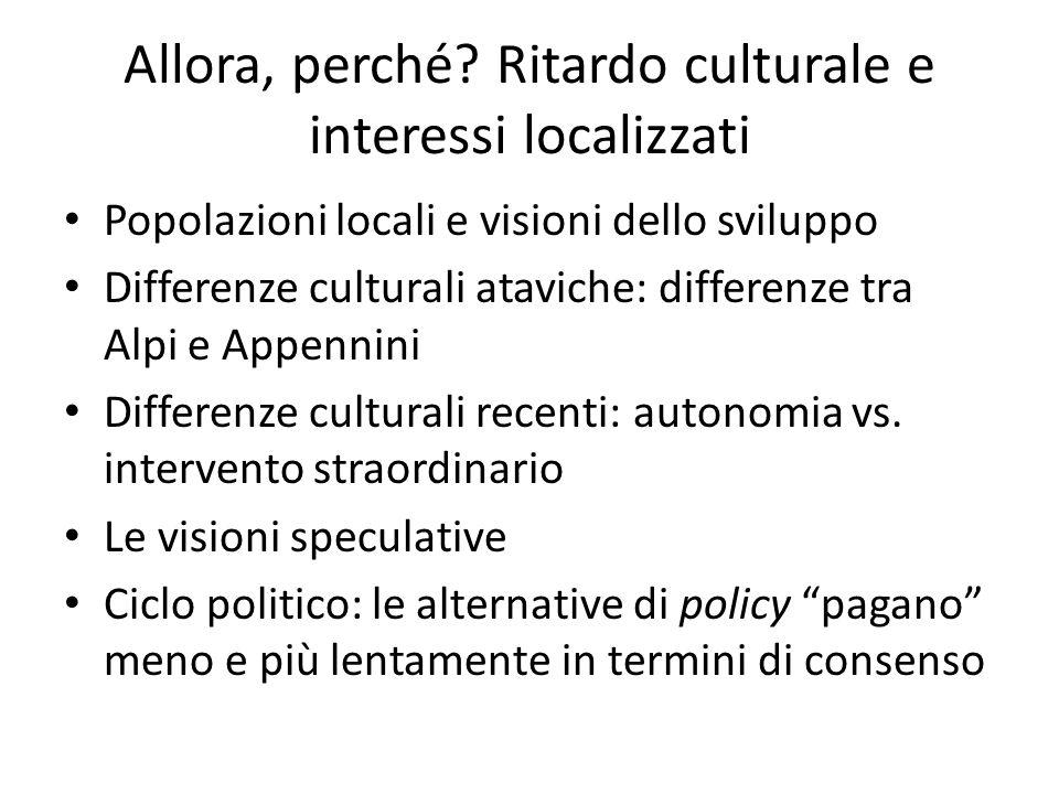 Allora, perché? Ritardo culturale e interessi localizzati Popolazioni locali e visioni dello sviluppo Differenze culturali ataviche: differenze tra Al