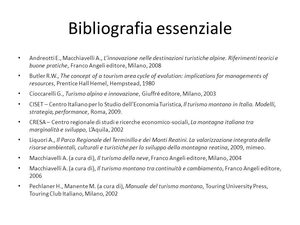 Bibliografia essenziale Andreotti E., Macchiavelli A., Linnovazione nelle destinazioni turistiche alpine. Riferimenti teorici e buone pratiche, Franco
