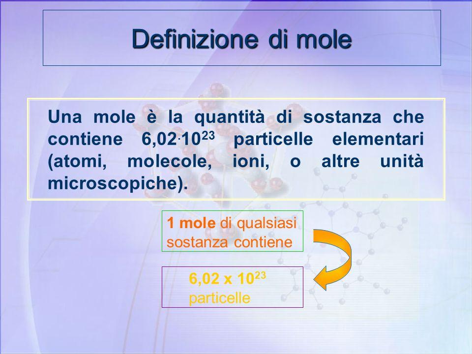 Definizione di mole Se misuriamo esattamente 12 g di carbonio 12, abbiamo esattamente 1 mol di atomi di carbonio 12. Nel mucchietto ci sarà esattament