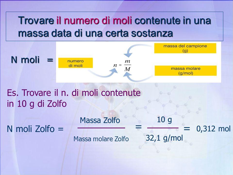 La Mole al lavoro Problemi : Trovare il numero di moli contenute in una massa data di una certa sostanza Determinare la massa di una sostanza conoscen
