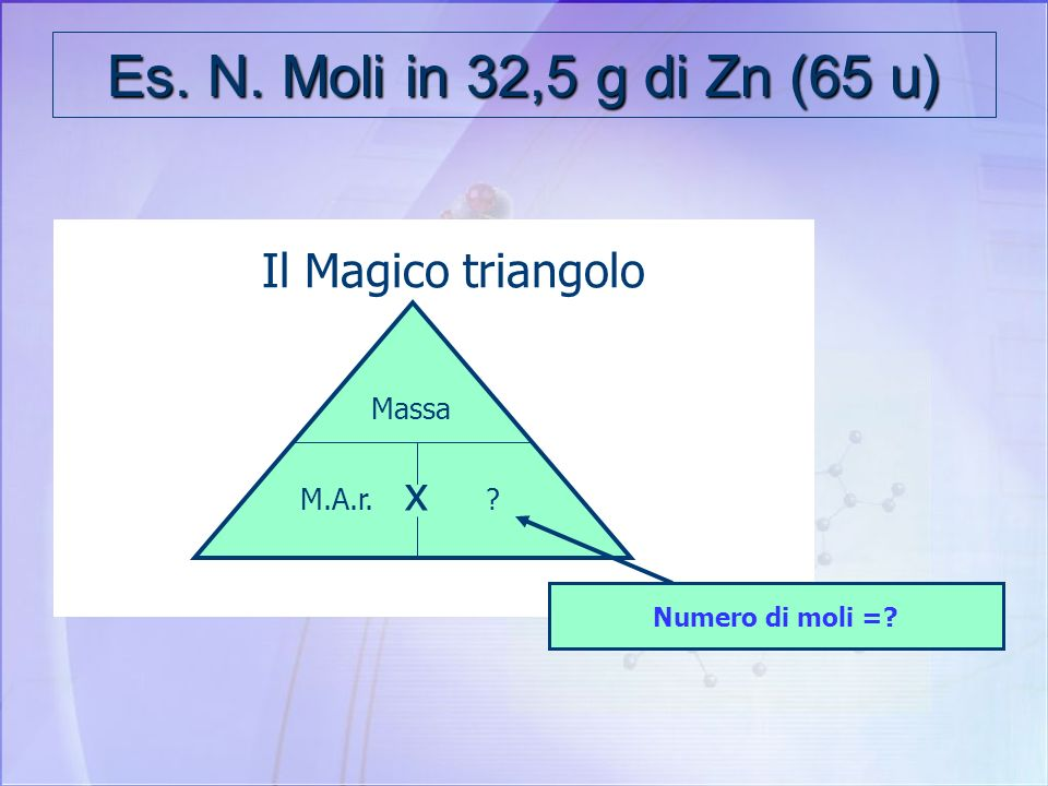 Per facilitare i calcoli Il Magico triangolo x Massa M.A.r.Moli Massa Atomica relativa: U Numero di moli Massa g