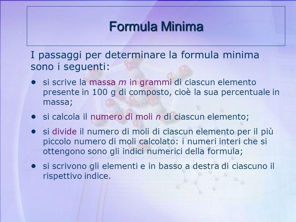 Per mezzo dellanalisi qualitativa e quantitativa si calcolano sperimentalmente le percentuali in massa degli elementi, da cui si ricava la formula min