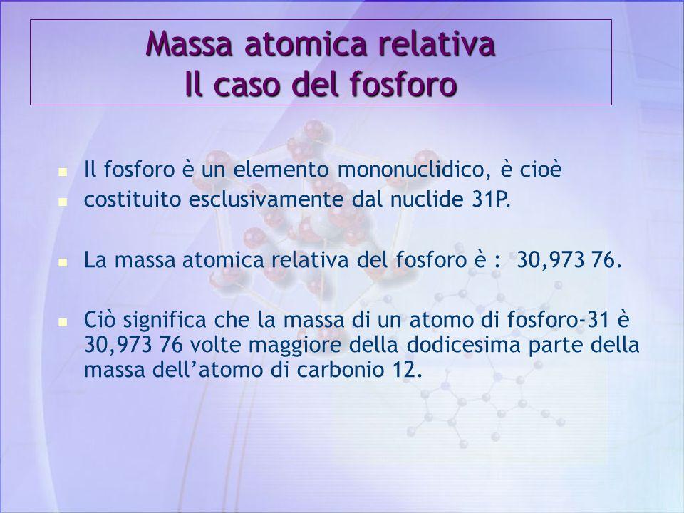 L'UNITA' DI MASSA ATOMICA L'unita di massa atomica relativa - abbreviazione u.m.a. (o meglio u) - è 1/12 (un dodicesimo) della massa del 12C. L'unità