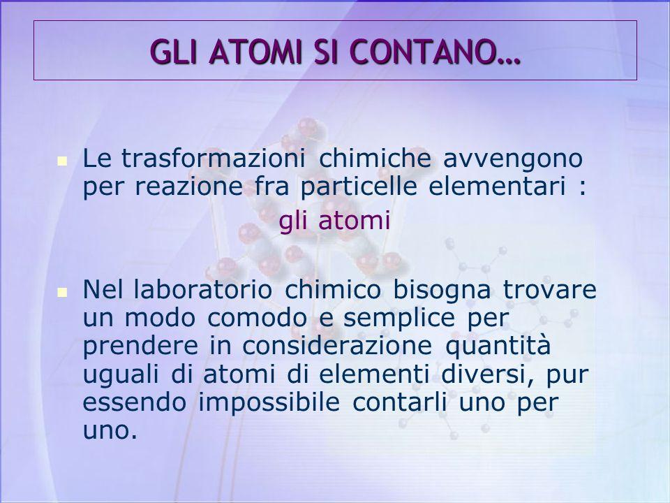 Le Masse atomiche sono riportate nella Tavola Periodica