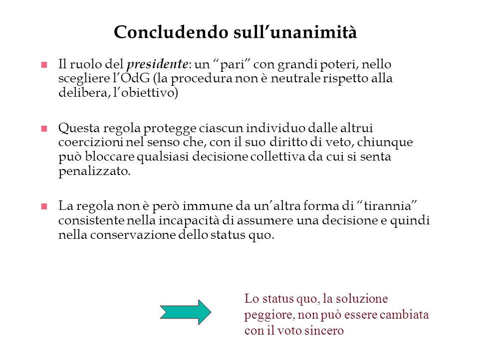 Concludendo sullunanimità n Il ruolo del presidente : un pari con grandi poteri, nello scegliere lOdG (la procedura non è neutrale rispetto alla delib