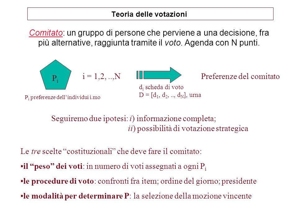 Il teorema dellelettore mediano nNonostante il paradosso di Condorcet ed il teorema di Arrow, il voto a maggioranza rimane la regola di scelta sociale più utilizzata.