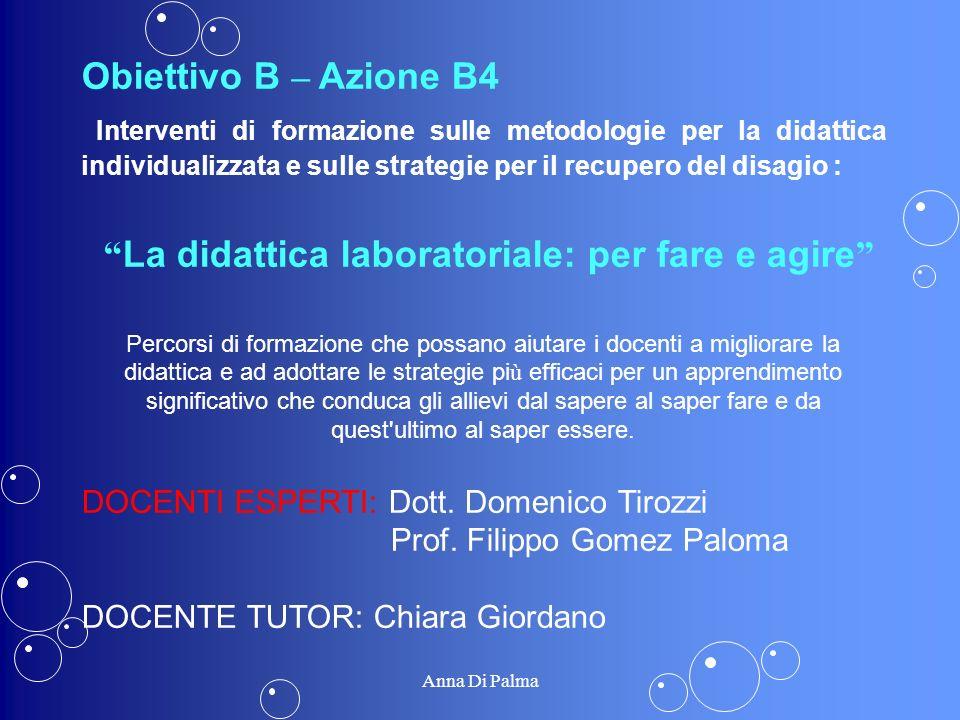 Obiettivo B – Azione B4 Interventi di formazione sulle metodologie per la didattica individualizzata e sulle strategie per il recupero del disagio : L