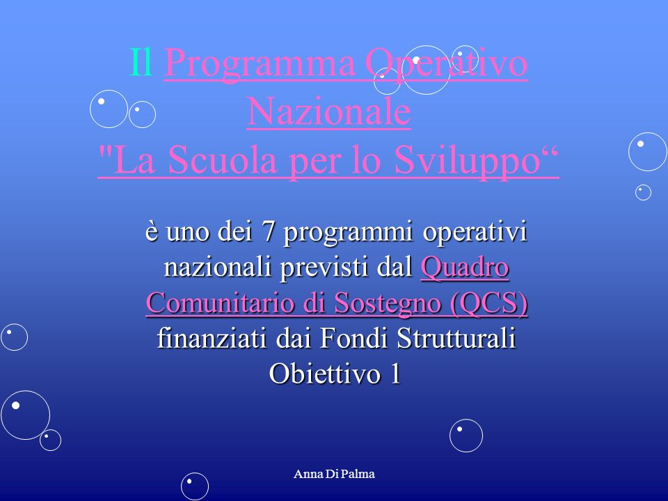 Il Programma Operativo Nazionale