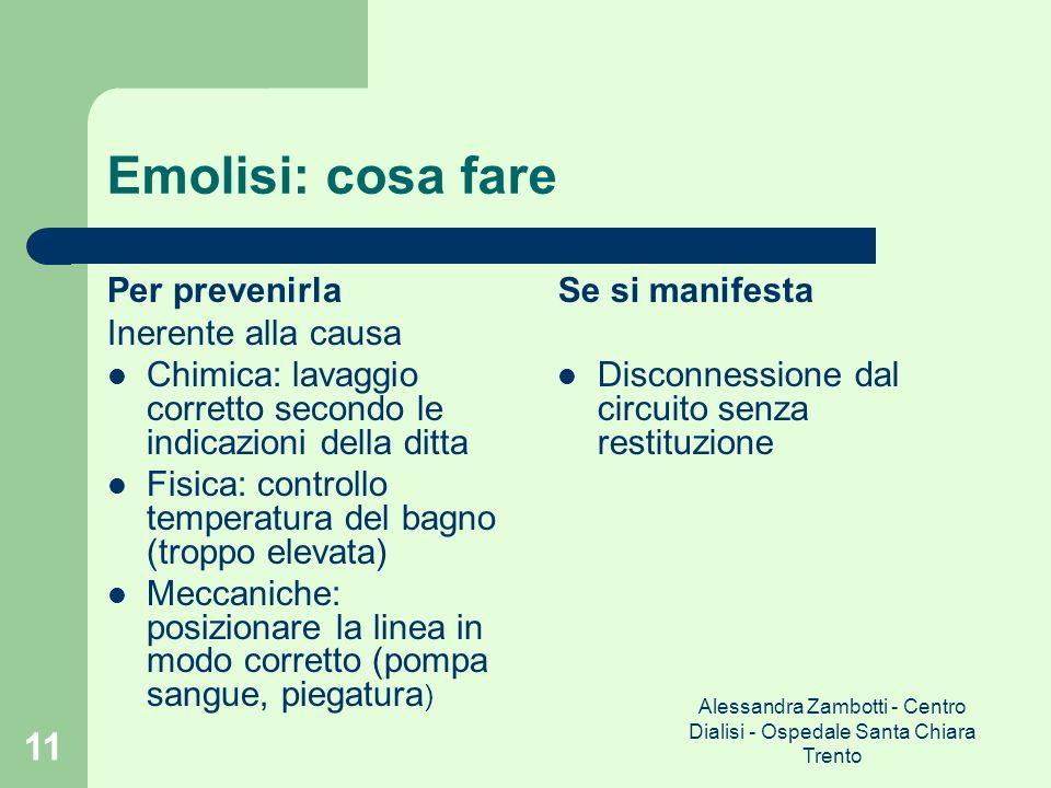 Alessandra Zambotti - Centro Dialisi - Ospedale Santa Chiara Trento 11 Emolisi: cosa fare Per prevenirla Inerente alla causa Chimica: lavaggio corrett