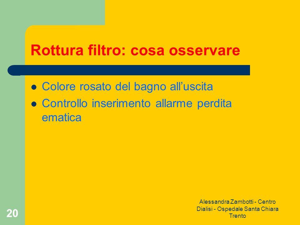 Alessandra Zambotti - Centro Dialisi - Ospedale Santa Chiara Trento 20 Rottura filtro: cosa osservare Colore rosato del bagno alluscita Controllo inse