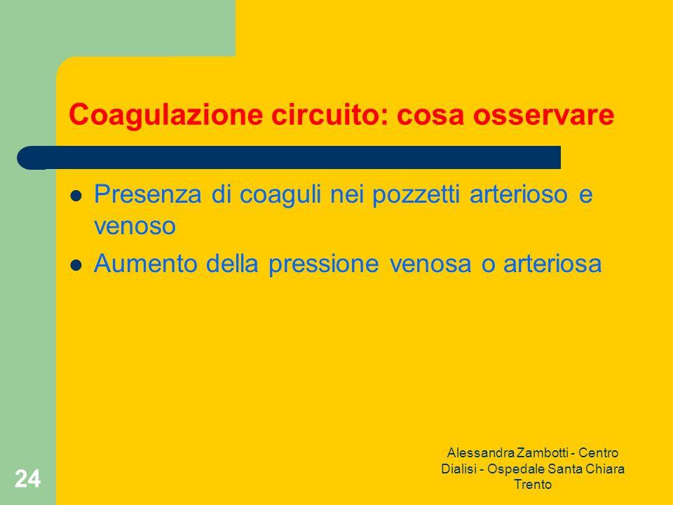 Alessandra Zambotti - Centro Dialisi - Ospedale Santa Chiara Trento 24 Coagulazione circuito: cosa osservare Presenza di coaguli nei pozzetti arterios