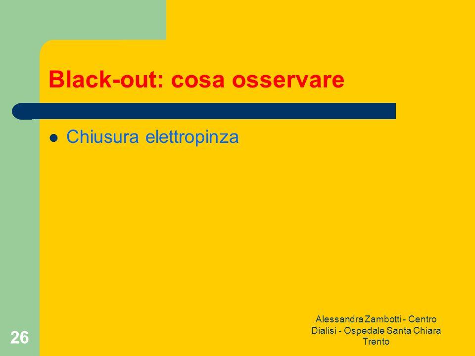 Alessandra Zambotti - Centro Dialisi - Ospedale Santa Chiara Trento 26 Black-out: cosa osservare Chiusura elettropinza