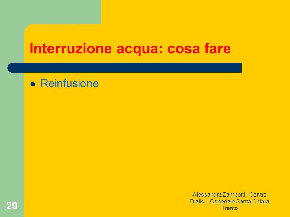 Alessandra Zambotti - Centro Dialisi - Ospedale Santa Chiara Trento 29 Interruzione acqua: cosa fare Reinfusione