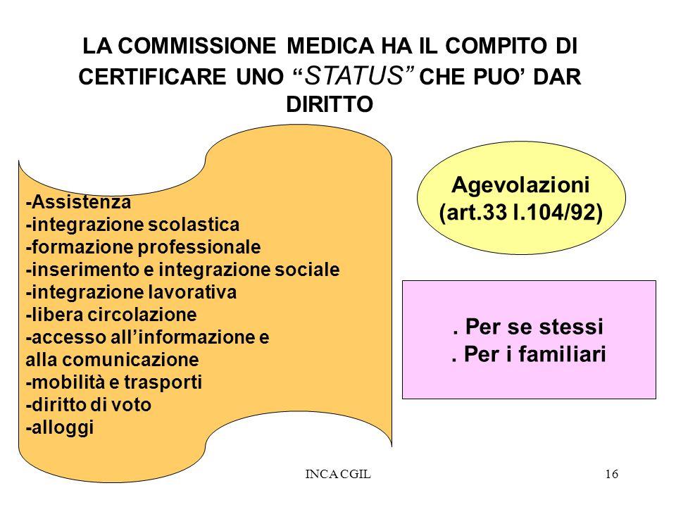 INCA CGIL16 LA COMMISSIONE MEDICA HA IL COMPITO DI CERTIFICARE UNO STATUS CHE PUO DAR DIRITTO Agevolazioni (art.33 l.104/92). Per se stessi. Per i fam